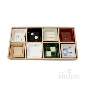 유포코리아 일제 도자기 8p 정사각찬기 세트 (일제-750) 반찬그릇 / 도자기그릇 / 일식기 / 일제그릇 / 업소용그릇 / 반찬기