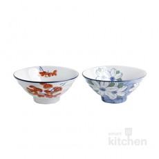 유포 도자기 VIP-325,326 빨간꽃 V공기, 파란국화 V공기 밥그릇 / 도자기식기 / 도자기그릇 / 업소용그릇 / 공기그릇