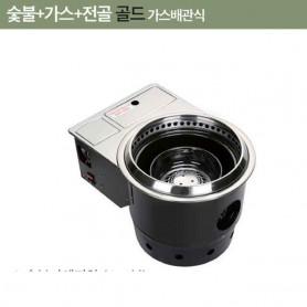 한국GM 원형하향식 숯불 + 가스 + 전골 로스터 닥트공사용 부탄식 가스로스타 로스터