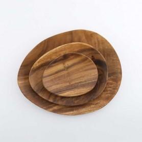 ERATO 에라토 우딘 조약돌 접시(6인치,9인치12인치) 우드접시 원목접시 카페 접시