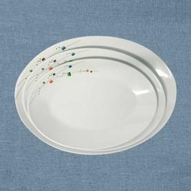 삼미 모자이크 한식타원접시 멜라민접시 멜라민그릇 업소용식기 업소용그릇